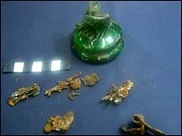 The Navenby witch bottle and contents
