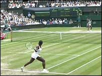 The Wiliams' sisters in Wimbledon 2003 women's singles final on Centre Court