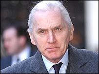 Lord Hutton arrives at the courts on Wednesday