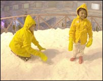 Boys in Hyderabad's Snow Park
