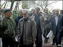 Reformist party members protest in Tehran, 27 January 2004