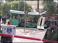 Wrecked bus in Jerusalem