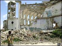 Ruins of parliament building, Mogadishu, 2003