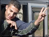 A Palestinian celebrates before his release