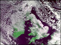 Satellite image of UK under snow - University of Dundee