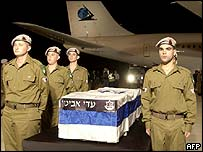 An Israeli honour guard meets the coffin of a soldier killed near the Lebanon border