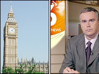Houses of Parliament and BBC News at Ten