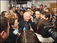 Greg Dyke is welcomed by staff