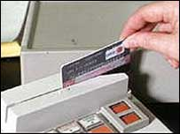 A credit card being swiped through an electronic reader