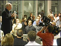 Greg Dyke addressing BBC journalists