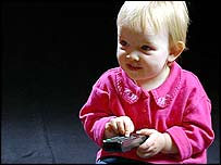 Toddler with remote