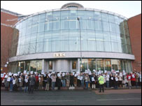 BBC staff protest outside Television Centre in London