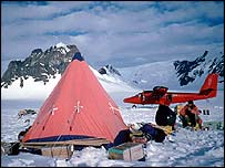 Researchers' field camp and aircraft   British Antarctic Survey