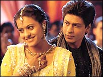 Kajol  (left) and Sharukh Khan in Bollywood hit Kabhi Kushi Kabhi Ghum