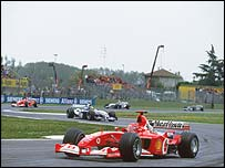 Michael Schumacher heads the field at last year's San Marino Grand Prix