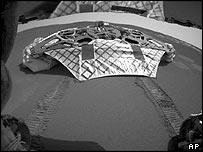 Opportunity's first tracks in the Martian soil