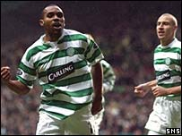 Didier Agathe celebrates after opening the scoring