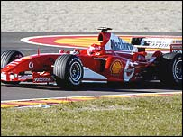 Michael Schumacher in the new Ferrari Formula One car