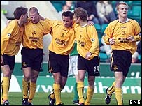 Livingston celebrate a win at Easter Road
