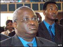 President Ndayizeye at funeral of slain papal envoy, Michael Courtney, in December 2003