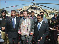 Mr Blunkett arrives in Mirpur, Pakistan