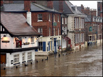 The River Ouse burst its banks flooding part of the centre of York