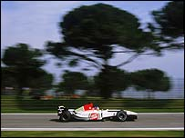 Jacques Villenueve in action at the 2003 San Marino Grand Prix at Imola