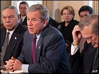 President Bush, Colin Powell, Donald Rumsfeld