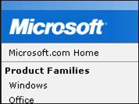 Grab of Microsoft homepage, Microsoft