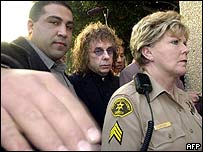 Phil Spector (centre) outside court