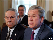 US's Collin Powell and George Bush