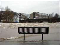 Swollen river Kent in Kendal