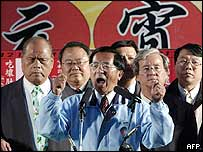 Taiwan's President Chen Shui-bian (centre) at an election rally in Taichung on Sunday
