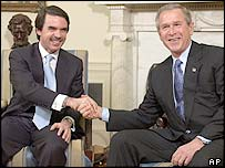 Spanish PM Jose Maria Aznar and George W Bush