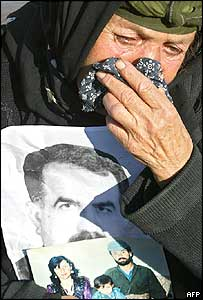 Mourner at the funeral of two Patriotic Union of Kurdistan (PUK) officials killed in the attacks in Irbil