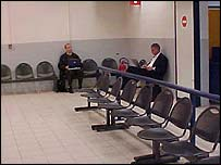 Businessmen working at Charleroi airport