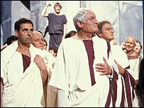 Charles Gray (front) as Julius Caesar in BBC production