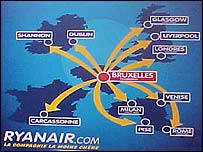 Ryanair route map