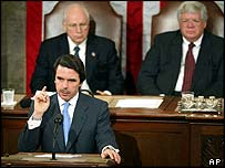 Jose Maria Aznar, US Vice President Dick Cheney and House of Representatives Speaker Dennis Hastert