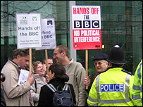 Protesters outside TVC in London
