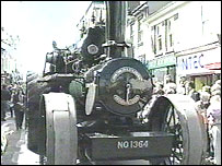 A steam engine in the parade