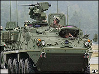 American Stryker armoured vehicle
