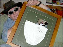 Paul Durden with Rhys Ifans' signed underpants
