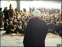 Iranian reformist MP Hossein Ansari-Rad addresses protesters during the sit-in