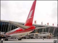 An Air China plan at Shanghai's new Pudong International Airport