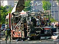 Взорванный автобус в Израиле