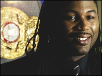 Lennox Lewis announcing his retirement at a news conference in London on Friday