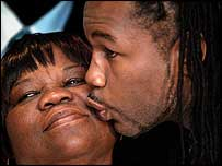 Lennox Lewis with his mum Violet at his retirement announcement