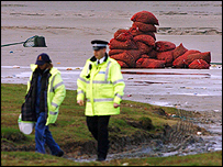 Police on the beach at Morecambe Bay