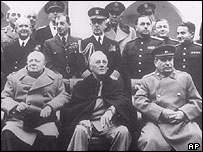 Front row, from the left: Sir Winston Churchill, Franklin D Roosevelt and Joseph Stalin  in Yalta , 1945